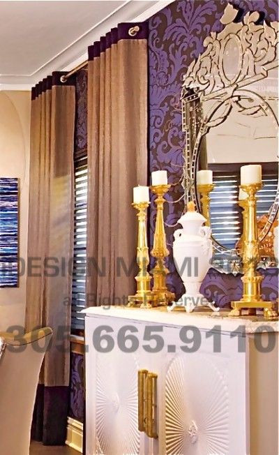 Custom Made Grommet Sheer Curtains W/4″ Header & 24″ Decorative Stripe on Accent Fabric.