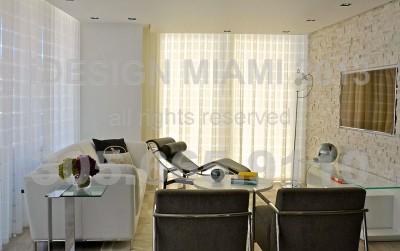 Motorized Sun Control Shades + Ripplefold Sheer Linen Curtains W/Romo Fabrics.