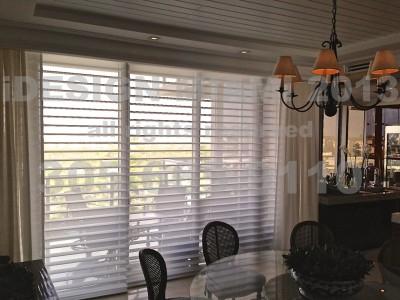 Motorized 4″ Silhouettes by Hunter Douglas + Motorized Ripplefold Sheer Linen Curtains.