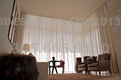 Motorized Ripplefold Sheer Linen Curtains.