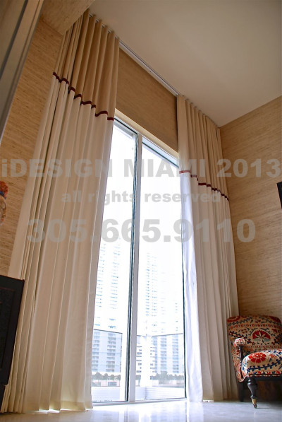 Custom Made Motorized Blackout Lined Ripplefold Curtains W/Decorative Tape over Accent Banding.