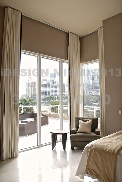 Custom Made Motorized Blackout Lined Ripplefold Curtains W/4″ Vertical Banding at Opening.