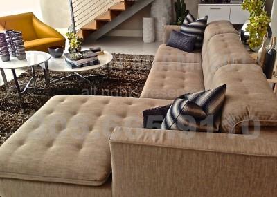 Custom Made Upholstered Ottoman on KirkbyDesign Textiles + Motorized Ripplefold Sheer Curtains on Romo Fabrics + Custom Throw Pillows on Casamance Textiles.