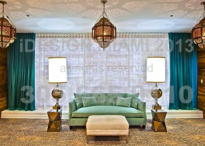 Custom Made Nature Bamboo Roman Shades by Coulisse + Ripplefold Sheer Curtains & Lined Silk Tafetta Stationary Panels.