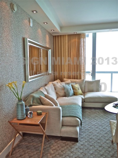 Motorized Sun Control Shades + Motorized Ripplefold Sheer Linen Curtains + Omexco Wallcoverings.