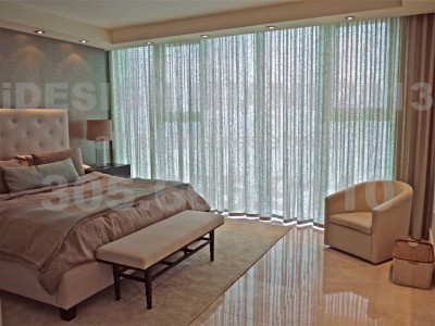 Motorized Blackout Rollershades + Motorized Ripplefold Sheer Linen Curtains + Phillip Jeffries Wallcoverings.