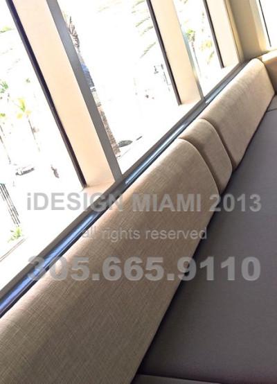 Custom Made Upholstered Banquette on Recast Leather Base & Linen Back.
